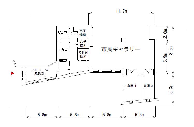 所沢駅東口市民ギャラリー平面図